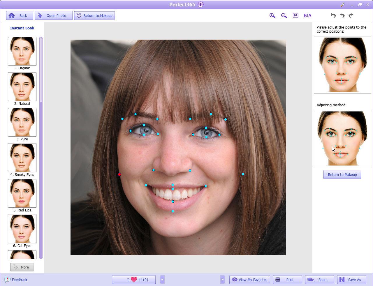 Программа на накладывает макияж